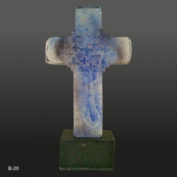 Glas kors - Blå<br>16x25 cm
